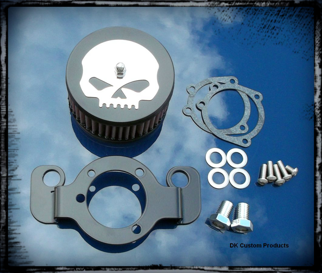 Mirror Skull Black Cover HiFlow 425 Air Cleaner System Twin Cam