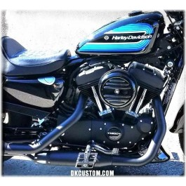 DK Custom Black SGS Promo Deluxe Harley Sportster Dyna Primo Footpegs Foot peg mini floorboard outlaw trap style BMX