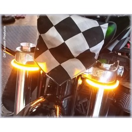 DK Custom Stealth LED Front Turn Signals All Amber Running lights Universal Fitment Harley-Davidson  Custom Dynamics SEE & BE SEEN