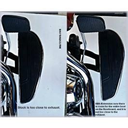 DK Custom Harley Floorboard Extension M8  Softail Heritage Deluxe Reduce felt Heat VTwin Goodies Kuryakyn