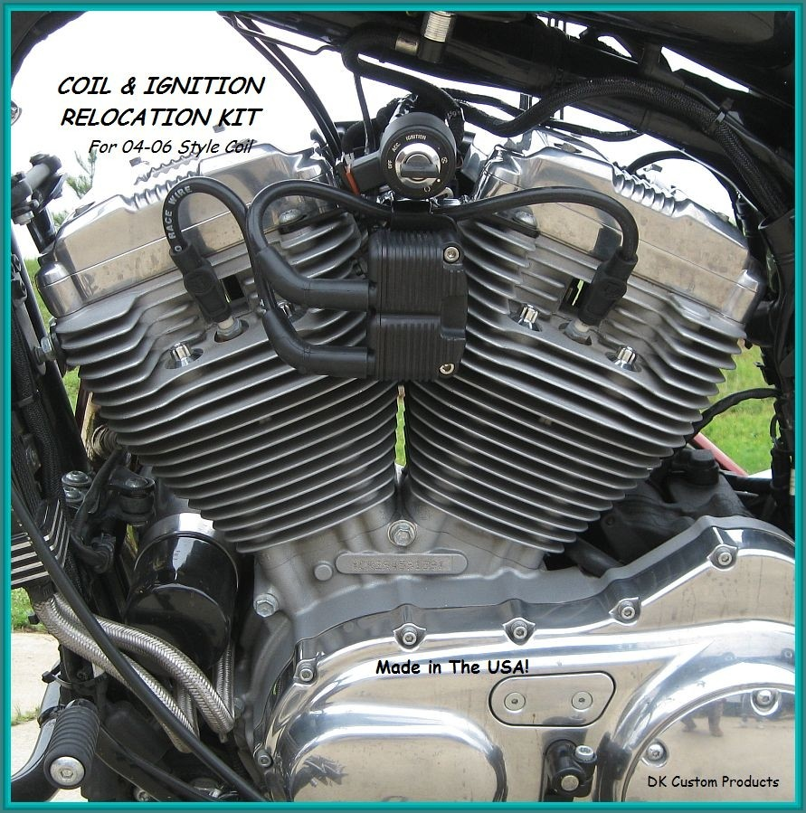 04-06 Coil and Ignition (Key) Relocation Kit DK Custom better air flow runs cooler Sportster Roadster 72 48  Nightster
