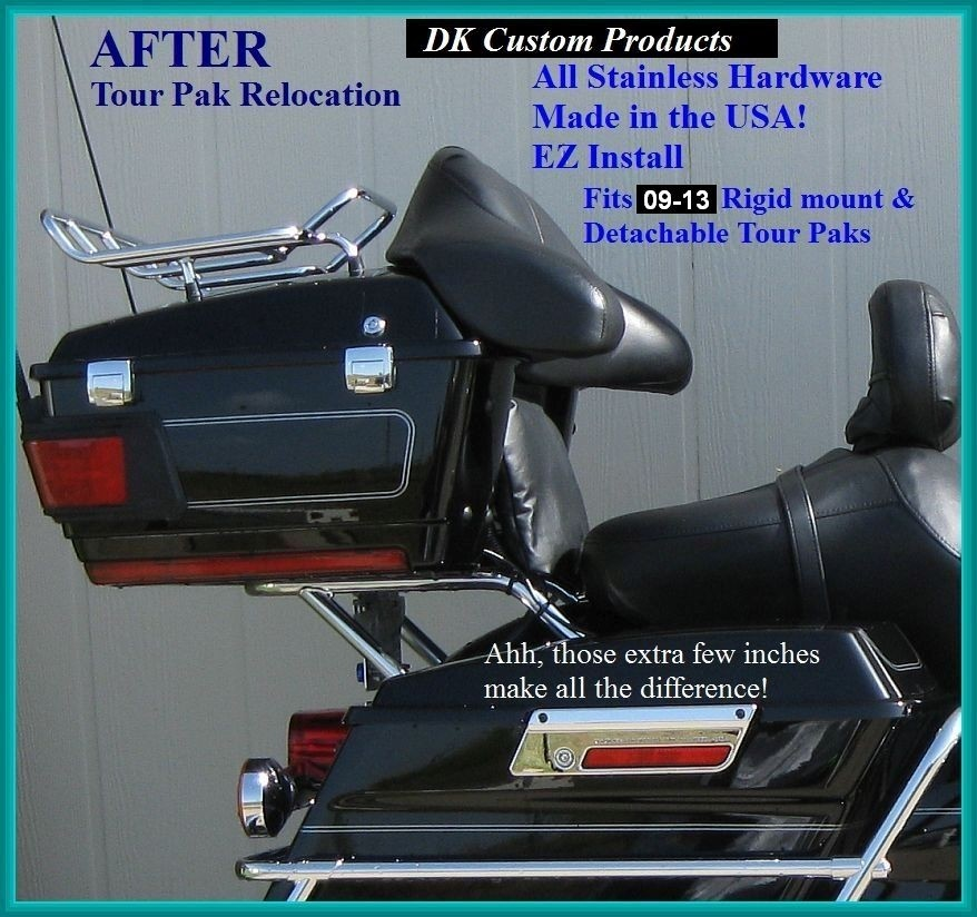 DK Custom Tour-Pak Relocator Relocation Harley Touring Bagger Relocate Passenger Comfort
