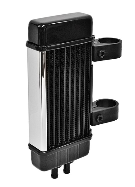 Chrome Wideline Oil Cooler System for Harley Motorcycles DK Custom High Flow Performance Dyna Cooler Running Motor Jagg HD 10 row Black Softail Touring Trike Freewheeler Big Twin Evo Milwaukee Eight Sportster