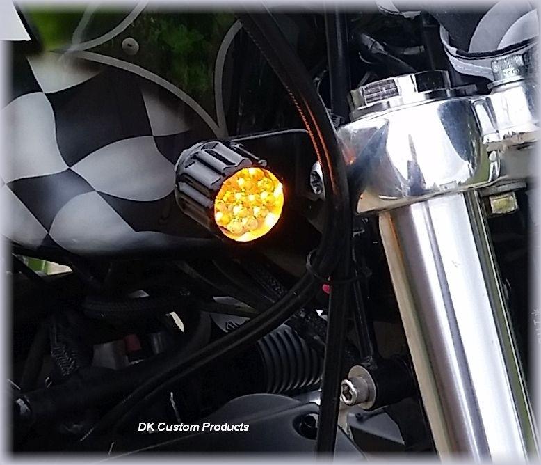 DK Custom Billet 22LR Polished Black Running Lights Turn Signal Bright LED Universal Fitment Harley Sportster Dyna