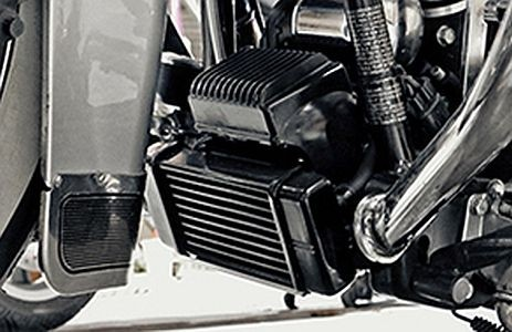Fan Assisted LowMount Oil Cooler System  Harley Touring Models Harley-Davidson Motorcycles DK Custom High Flow Performance Softail Touring Trike Freewheeler Big Twin Evo Milwaukee Eight Sportster  Cooler Running Motor Jagg HD Black