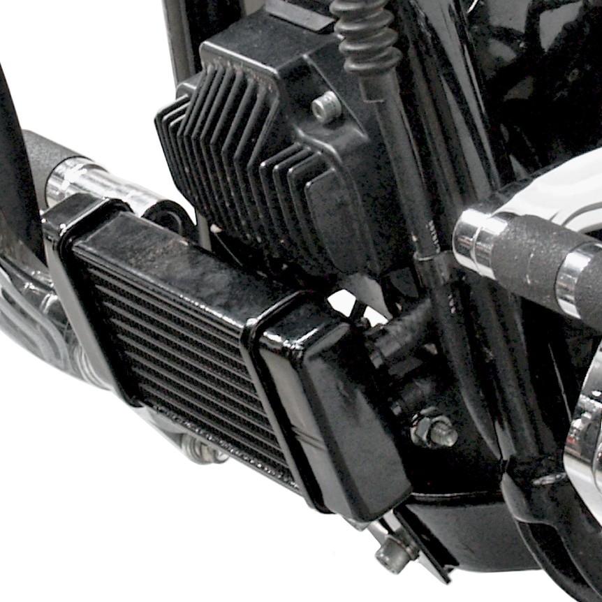LowMount Oil Cooler System for Harley-Davidson Dyna Models DK Custom High Flow Performance Dyna Cooler Running Motor Jagg HD 10 row Black