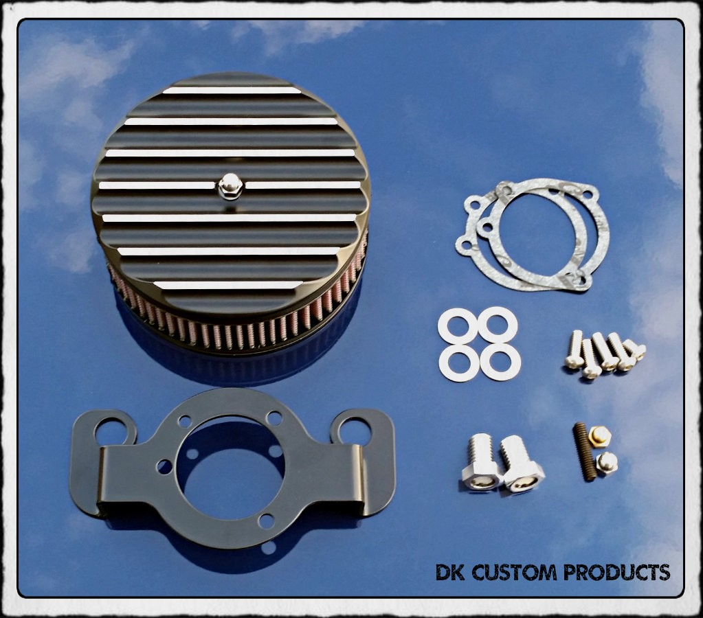 Complete Contrast Finned HiFlow 587 Air Cleaner Harley Twin Cam DK Custom Harley Davidson Outlaw Air Cleaner Systems Complete EBS High Flow M-8 Milwaukee-Eight Softail Twin Cam Dyna  Touring Trike Freewheeler  Big Twin Stage I TBW Throttle By Wire