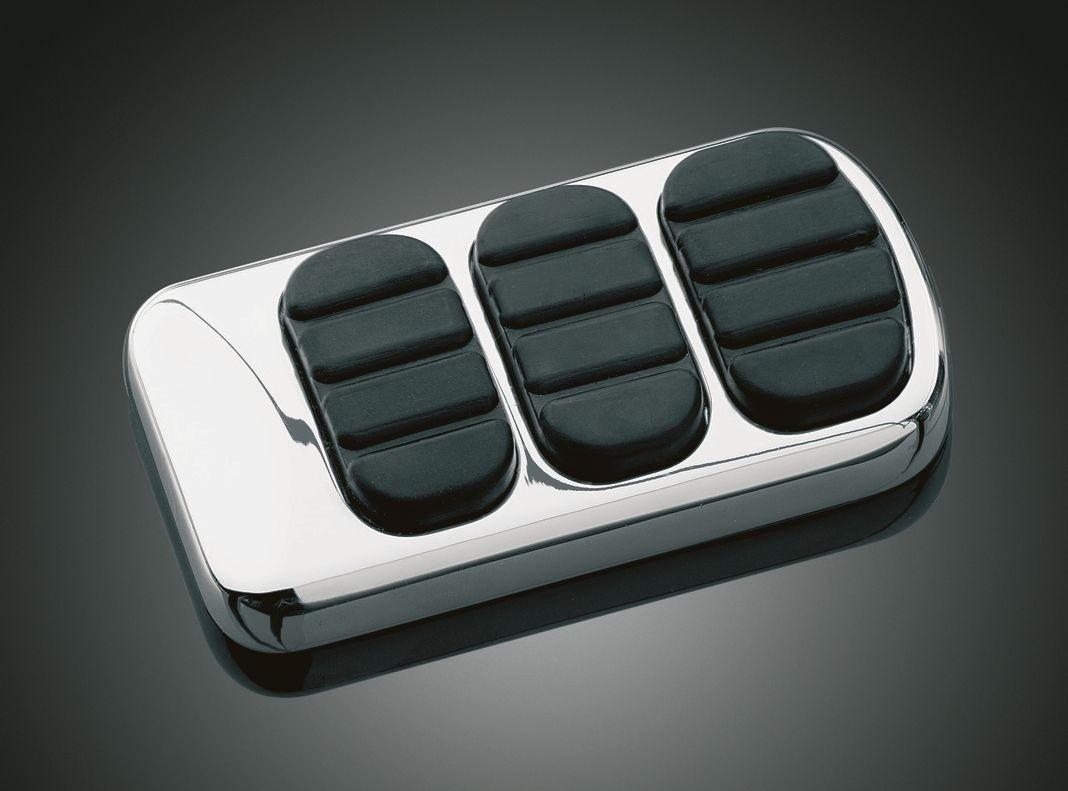 Chrome ISO Brake Pedal Pad For Harley Touring Softail DK Custom Kuryakyn larger pedal for better braking control
