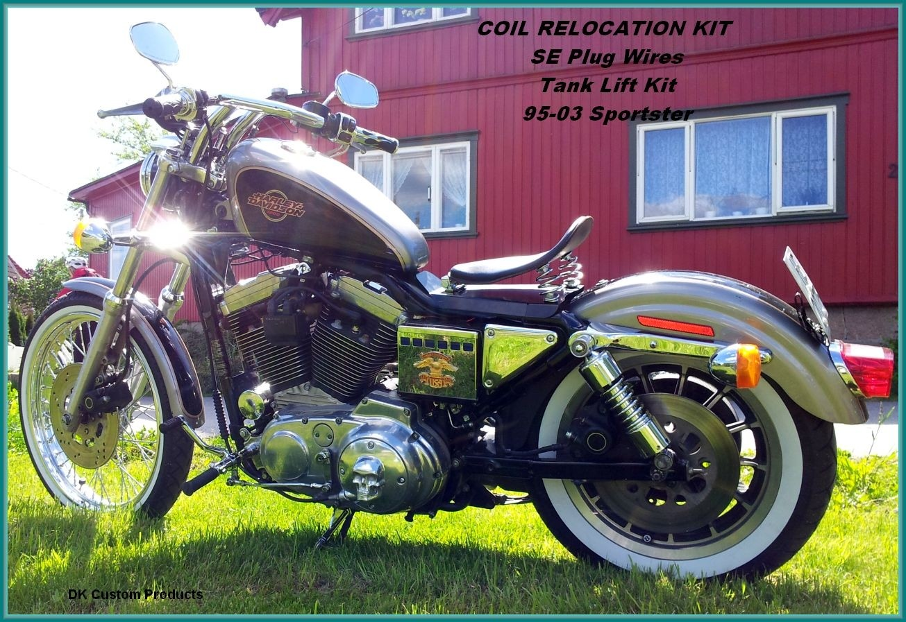 1995-2003 Coil Relocation Kit DK Custom Harley-Davidson  wire tuck better air flow runs cooler M-8 Milwaukee-Eight Softail Twin Cam Sportster Roadster Dyna  Touring Trike Freewheeler 72 48 Big Twin Evo Nightster Iron