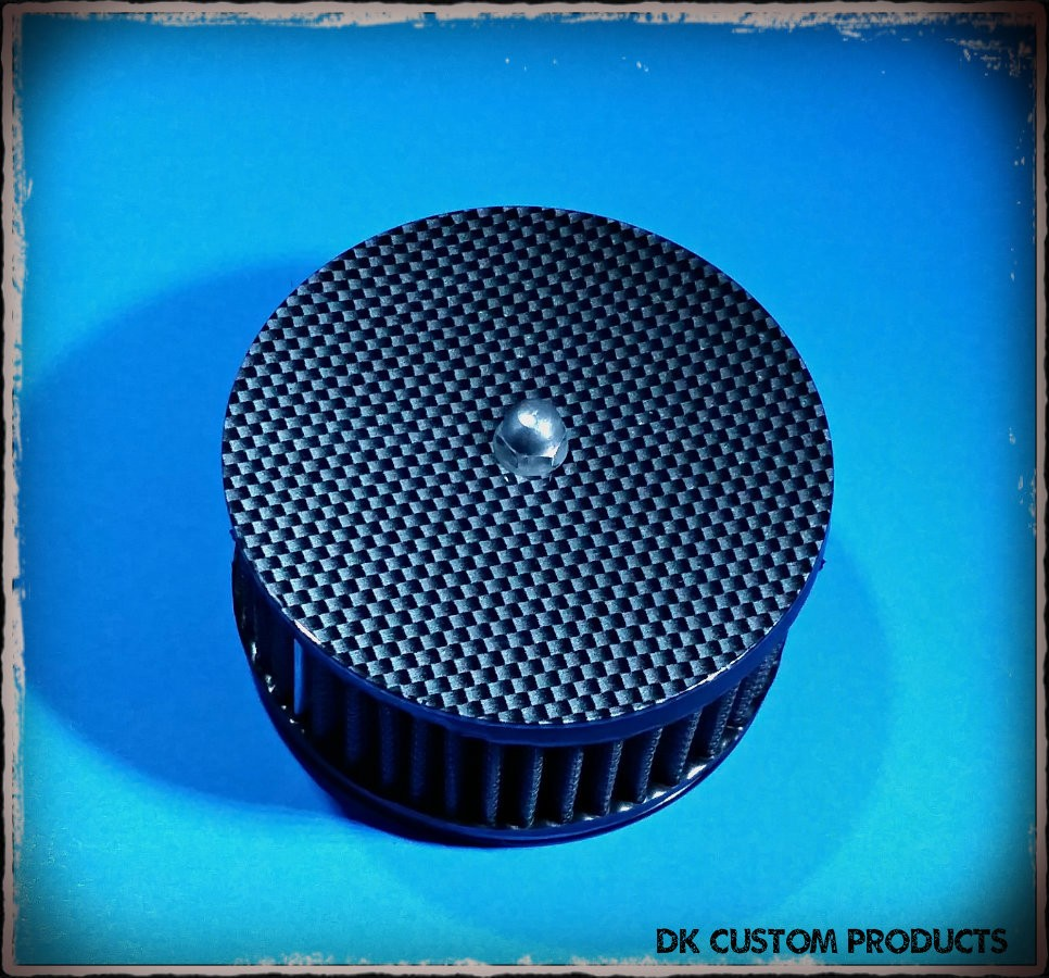 Carbon Fiber Face Plate Harley Davidson 606 587 425 aluminum polished chrome Big Sucker Pro-Billet Made in USA contrast cut sano black High Performance air cleaner system Sportster Big Twin Evo DK Custom Outlaw Air Cleaner Interchangeable Face Plate  EBS