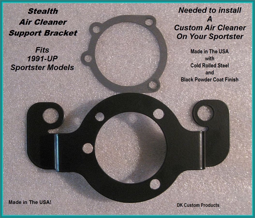 Harley Davidson Sportster Stealth Air cleaner support bracket custom DK Custom allows custom breather vents 48 custom low nightster xl superlow