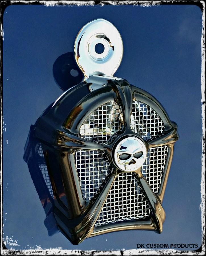 DK Custom Gloss Black & Chrome Mesh Cowbell Horn Cover for Harley Kuryakyn Willie G Skull