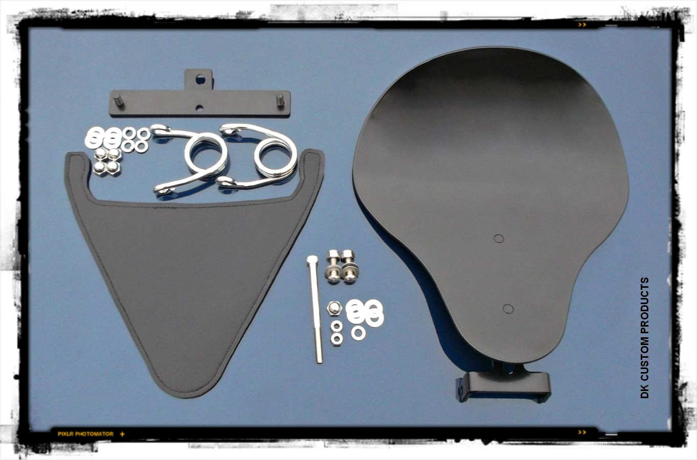 DK Custom Outlaw Bolt-On Solo Seat System w/ SCISSOR  Haripin Springs - 2004-Up Sportsters Made in the USA Harley