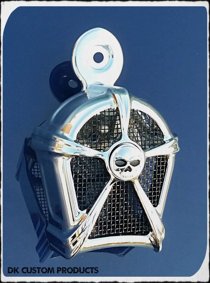 DK Custom Chrome & Black Mesh Cowbell Horn Cover for Harley Kuryakyn Willie G Skull