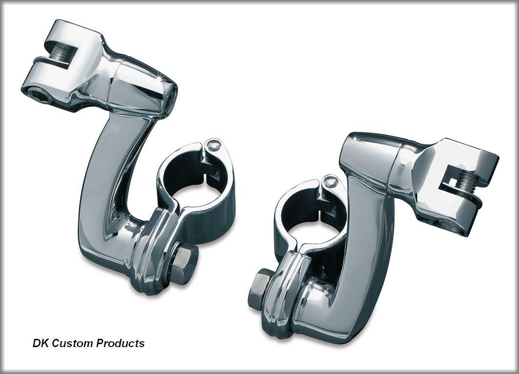 DK CustomChrome Adjustable Highway Peg Mounting Kit w/ Radiused Arms Harely Davidson Foot Pegs