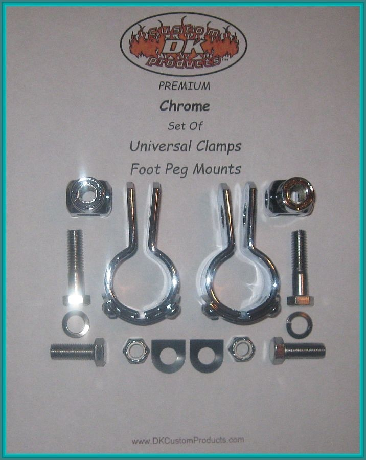 CHROME CLAMPS & FOOT PEG MOUNTS - COMPLETE KIT DK Custom Harley Davidson Highway Pegs Crash Bar Engine Guard COMPLETE KIT Sportster Dyna Softail Trike Freewheeler
