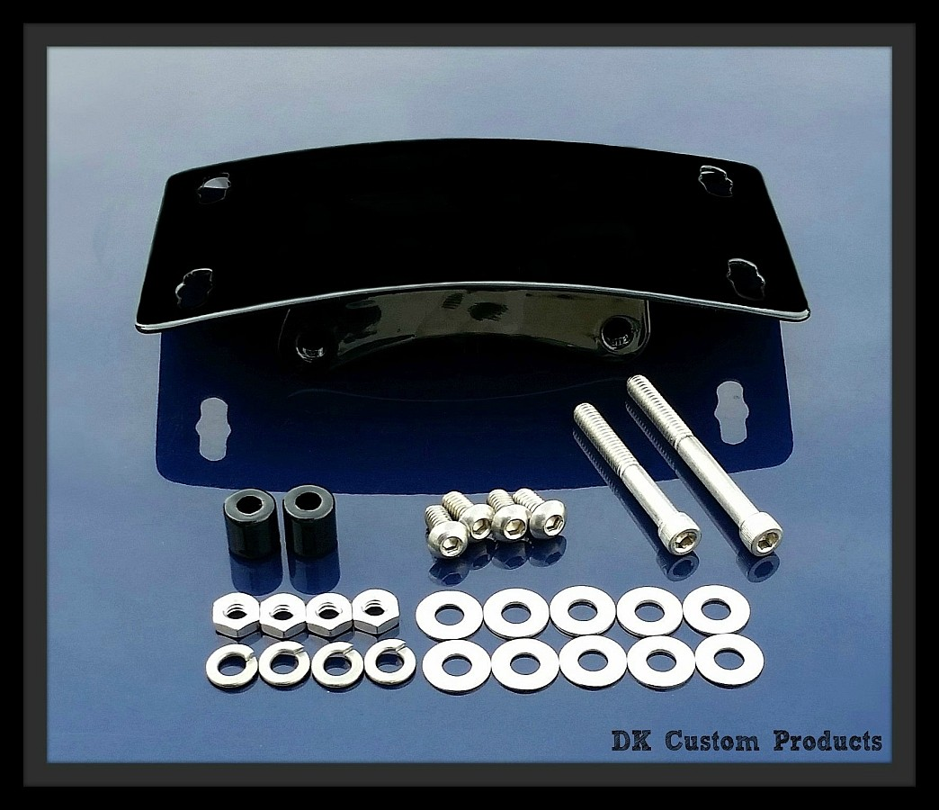 Primary Mounted Curved License Plate Relocation Kit Harley-Davidson Sportster DK Custom LED Light
