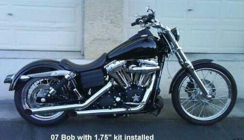 "DK Custom Dyna 1.75"" Lowering Kit 06-UP for Harley-Davidson Models Billet Aluminum Lowering Blocks Made in The USA Anodized Black Chrome"