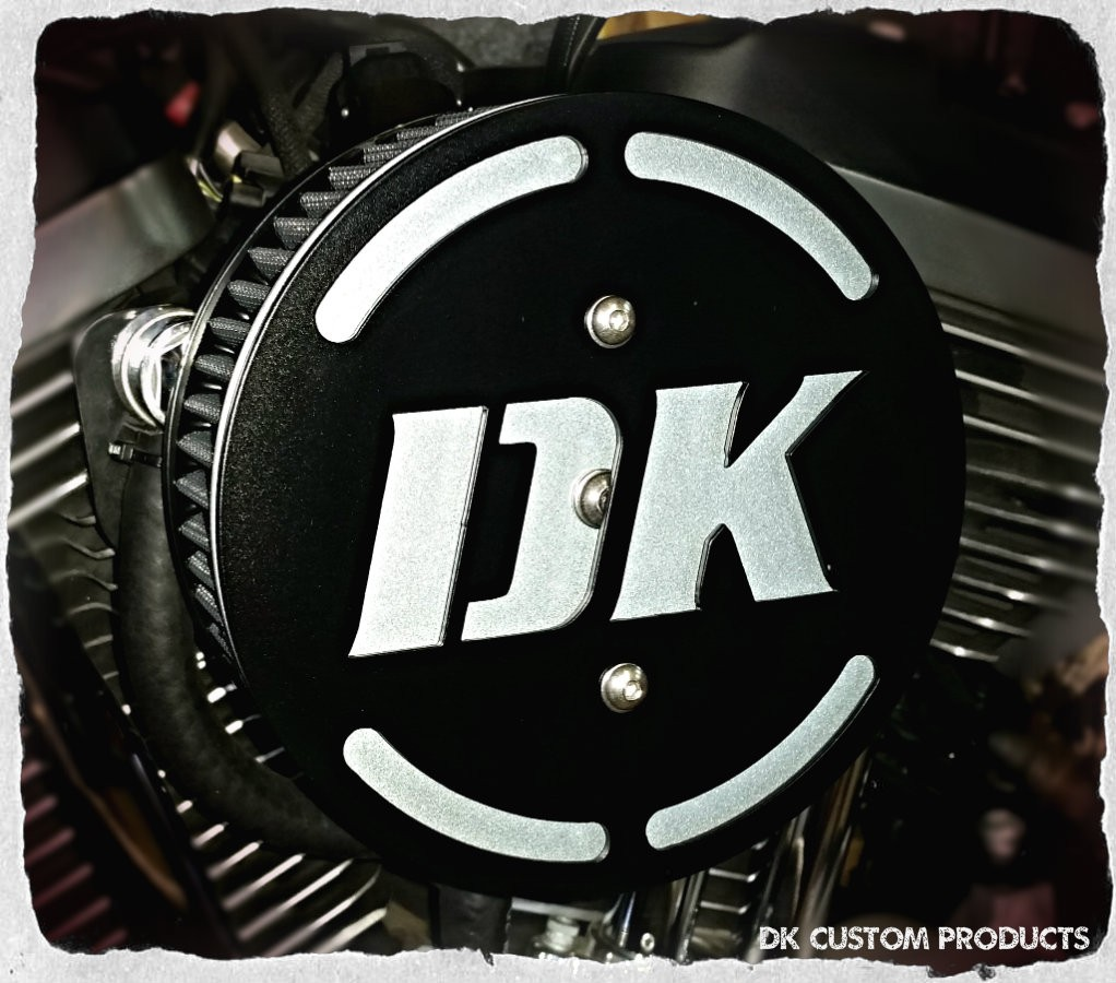 DK in 3-D Face Plate Harley Davidson 606 587 425 aluminum polished chrome Big Sucker Pro-Billet Made in USA contrast cut sano black High Performance air cleaner system Sportster Big Twin Evo DK Custom Outlaw Air Cleaner Interchangeable Face Plate  EBS Roa