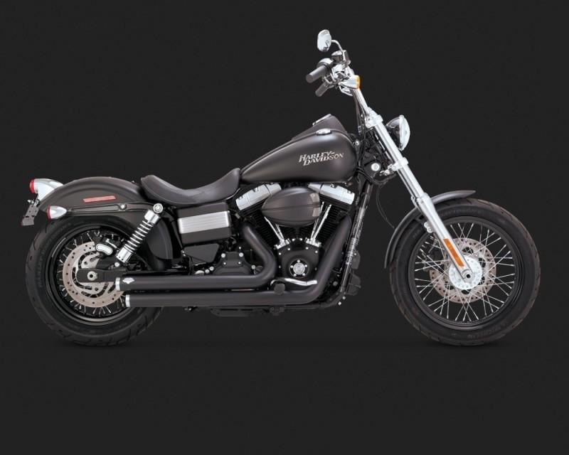 DK Custom V&H Big Shots Staggered for Harley Dyna - Black Vance & Hines Thunder Torque