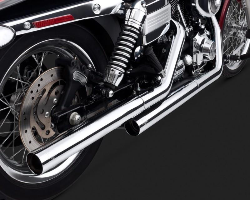 DK Custom V&H Straightshots Slip-ons for Harley Dyna - Chrome Harley-Davidson Vance & Hines