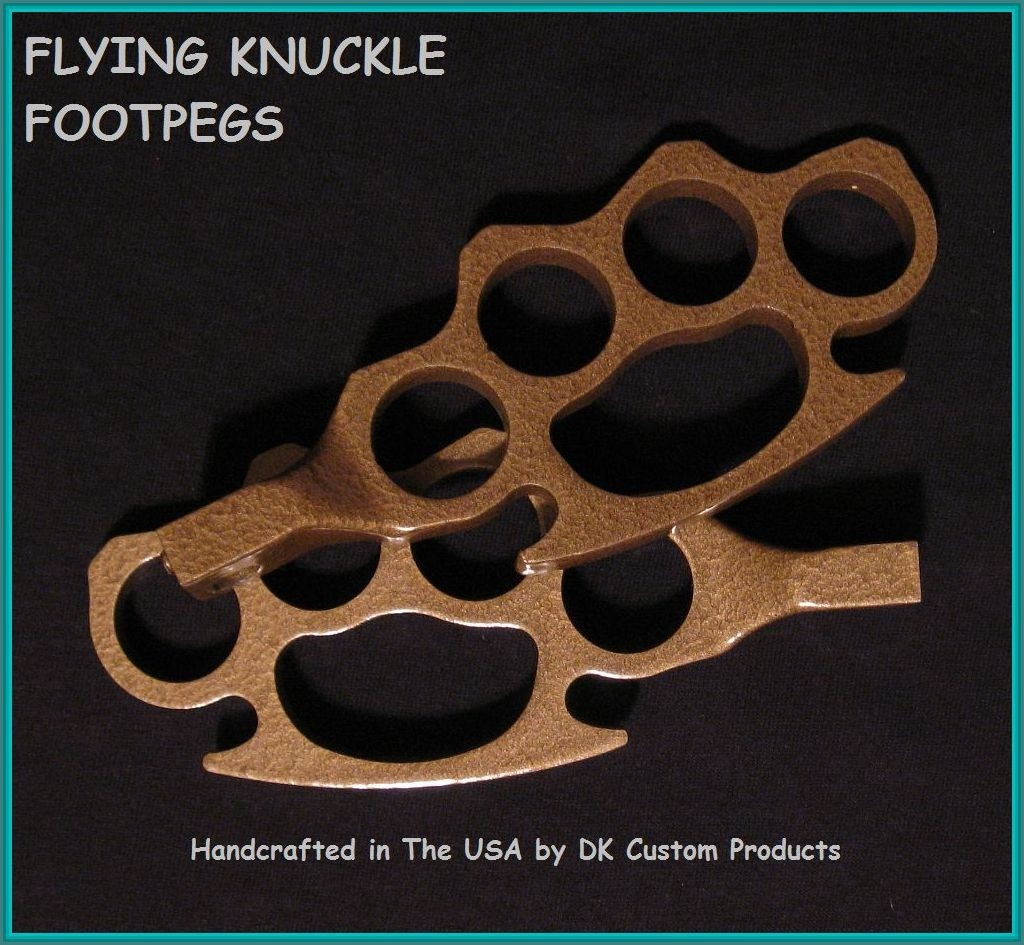 DK Custom Harley Brass Powder Coat Flying Knuckle Foot Pegs For Harley-Davidson Grip Highway Passenger pegs sportster dyna softail touring Handmade in the USA