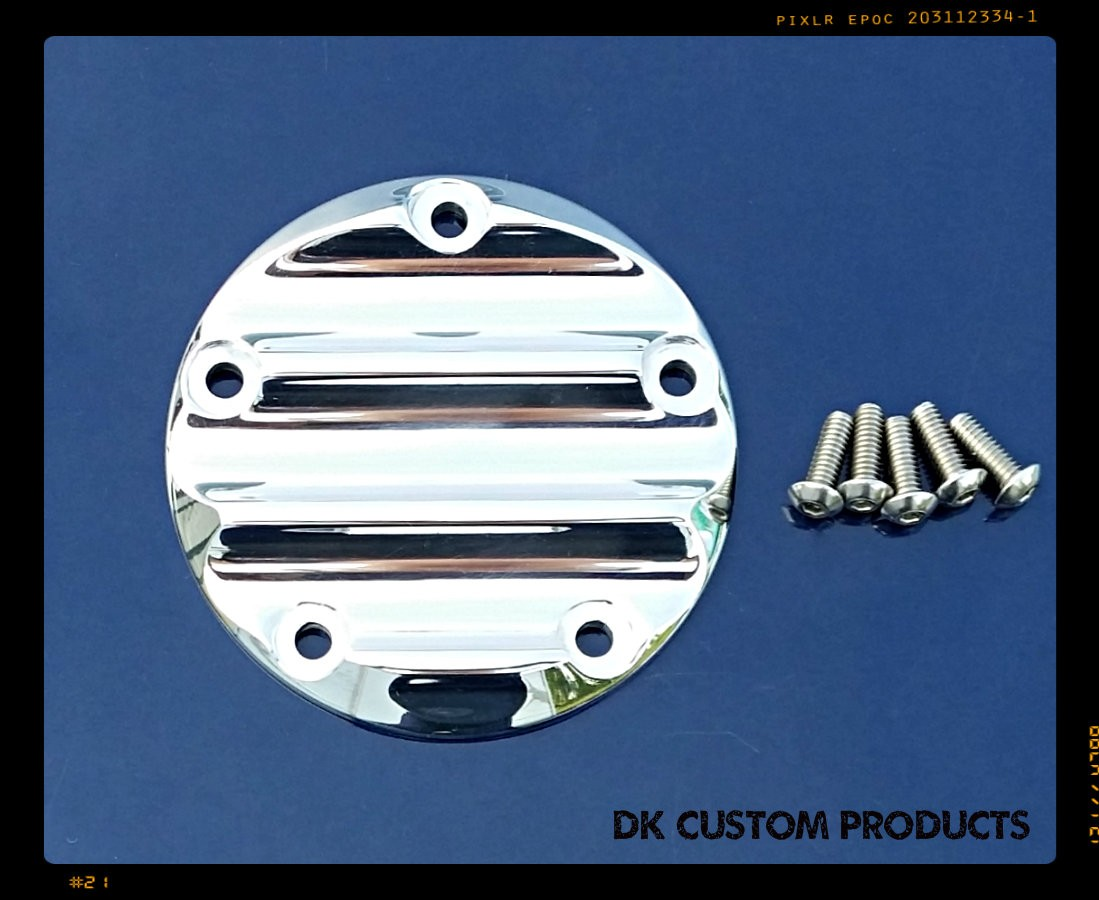 DK Custom Harley Points Timing Cover Billet Aluminum Polished Evo Sportster Twin Cam M8 Milwaukee Eight
