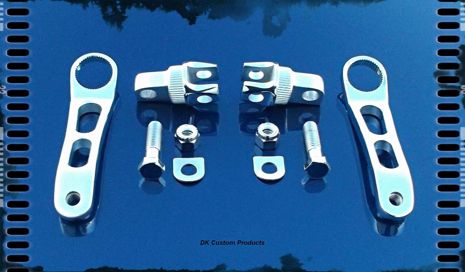 DK Cuatom Chrome Heel Rest Bracket & Arm Kit HARLEY DAVIDSON DK Custom Sportster Dyna Softail Forward Controls Highway Foot Peg Comfort