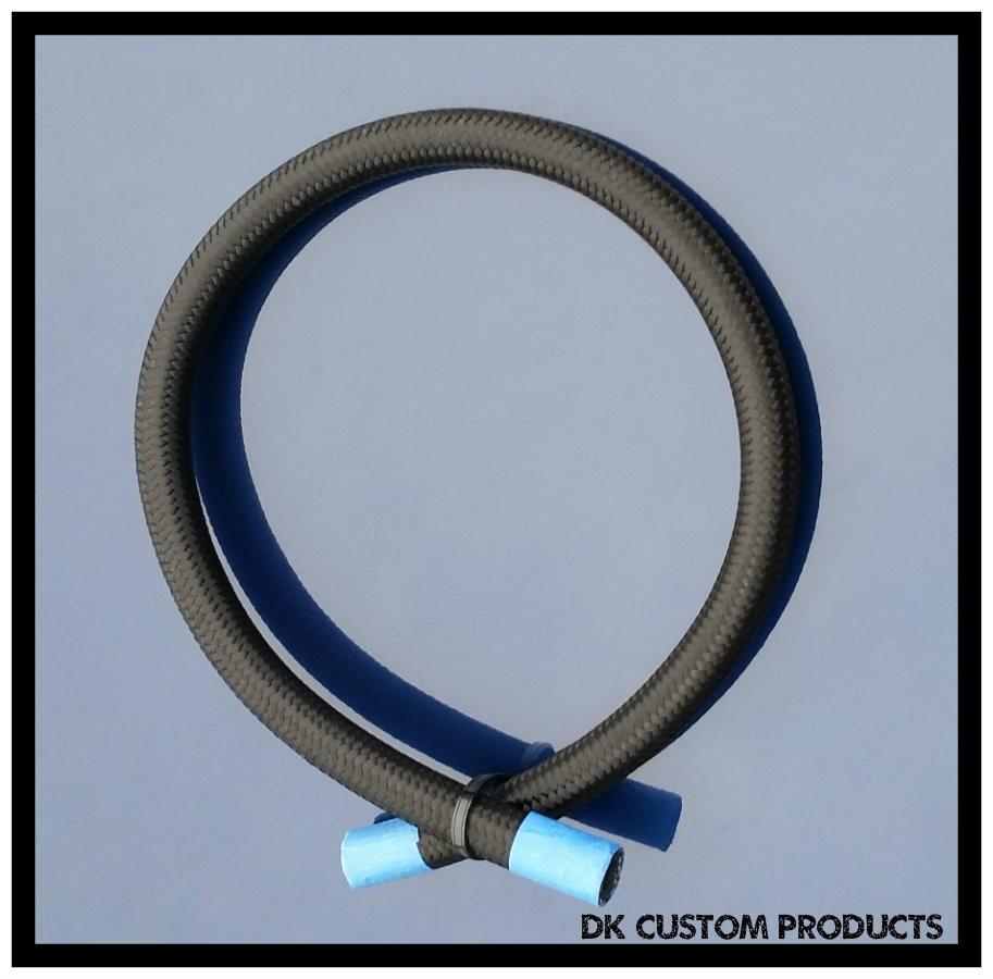 DK Custom Harley BLACK FIBER BRAIDED HOSE FOR EBS Oil Coolers Oil Filter Relo Automotive grade hose