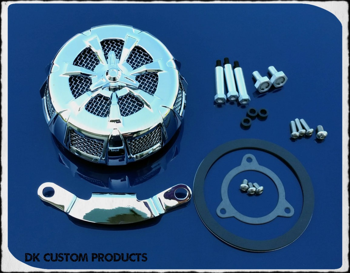 Complete Chrome 7 Spoke HiFlow 606 Air Cleaner All Twin Cam Dyna Softail Touring DK Custom High Flow Harley Davidson performance air cleaner 606 intake kit K&N EBS External Breather System TBW Cable Operated