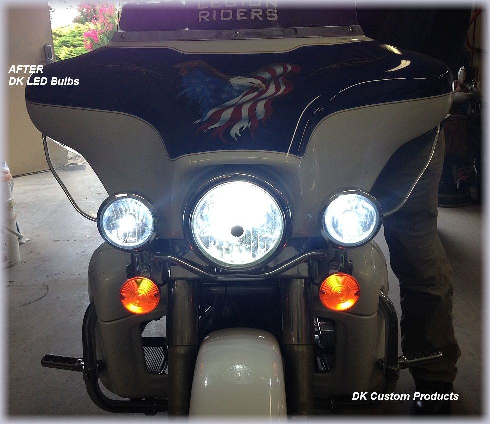 DK Custom Harley Touring Softail Trike Dyna Sportster LED Headlight Bulb