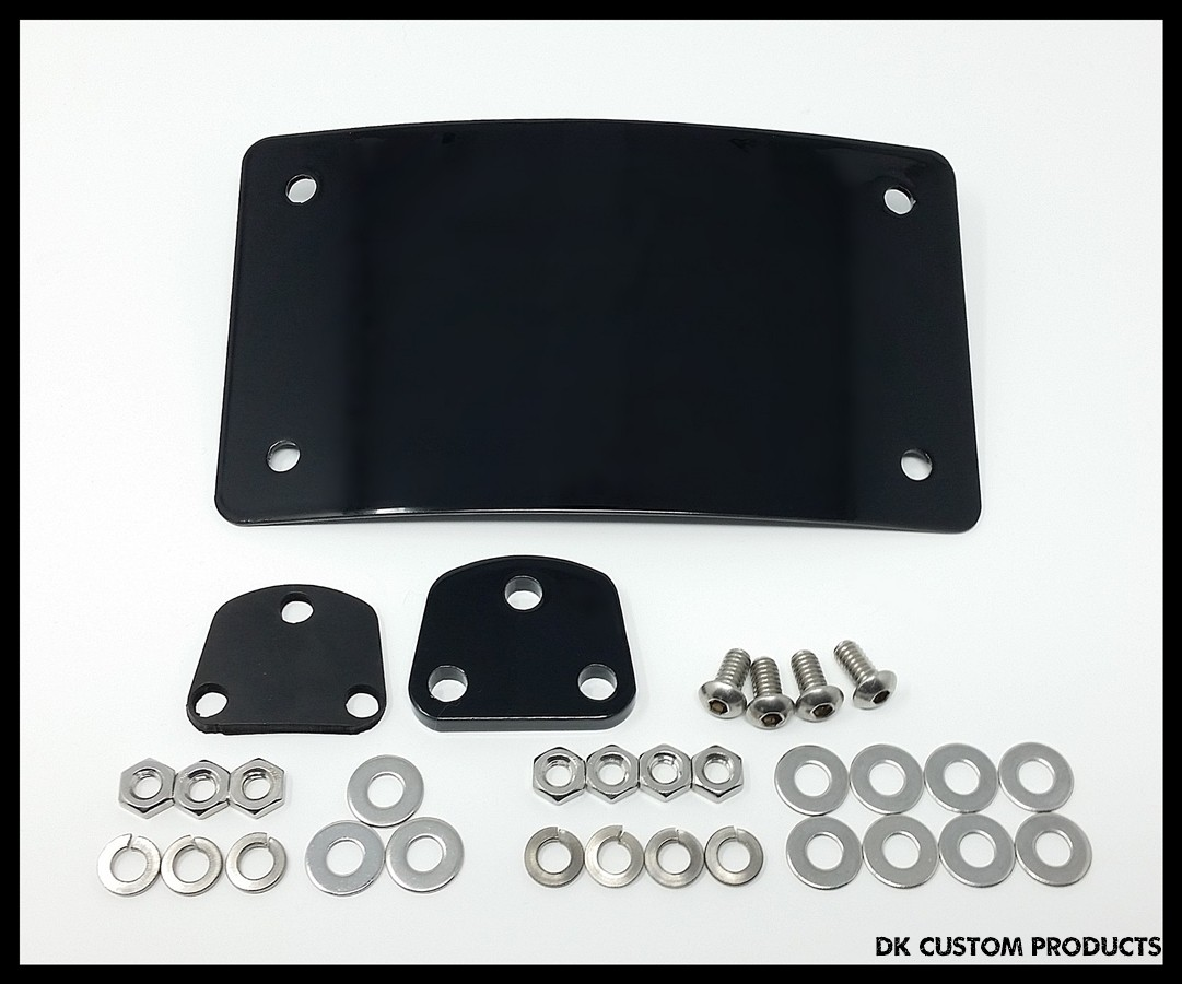 DK Custom Harley Laydown Curved License Plate Relocation Sportster Dyna Softail M8 Low Profile