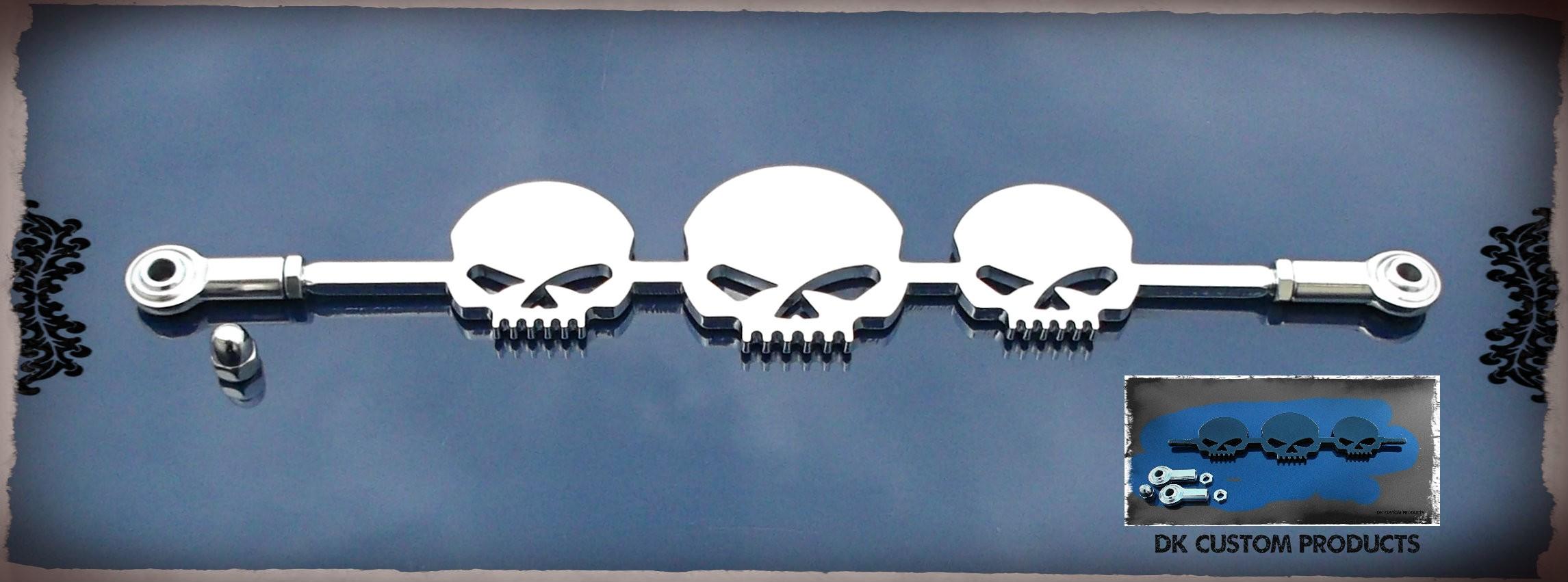 Deep Chrome Skull Shift Linkage  w/ Heim Joints DK Custom Harley davidson Touring Softail Dyna Freewheeler Trike