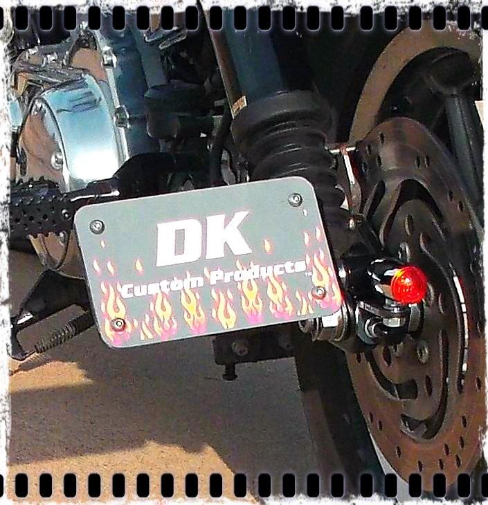 DK Custom License Plate Bracket  - Horizontal Mount Tail Light Harley Sportster Dyna Softail left OR right side