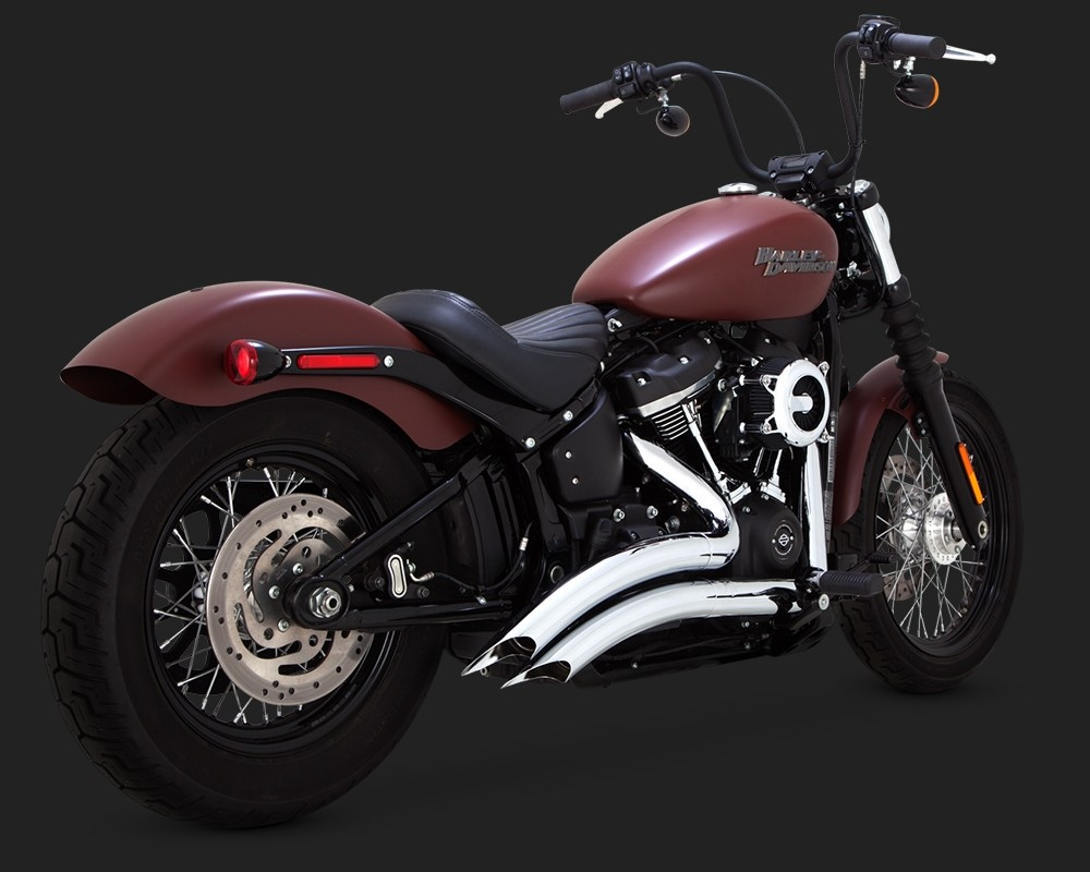 DK Custom V&H Big Radius 2-2 Full Exhaust for Harley M8 Softail - Chrome Vance & Hines Thunder Torque Slash Cut Heat Shields