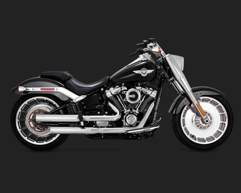 V&H Eliminator 300 Slip-ons for Harley Milwaukee-Eight Softail - Satin Chrome Vance & Hines