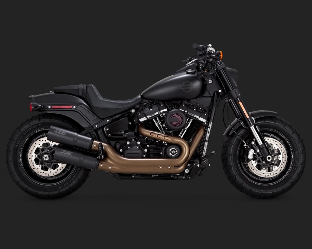V&H V&H Hi-Output Slip-ons for Harley Milwaukee-Eight Softail Fat Bob - Black Vance & Hines