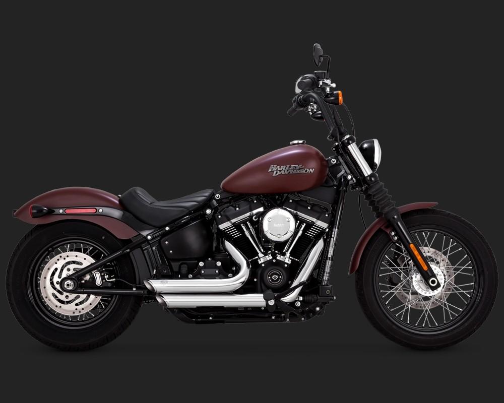 DK Custom V&H Short Shots Full Exhaust for M8 Harley Softail - Black Vance & Hines Thunder Torque