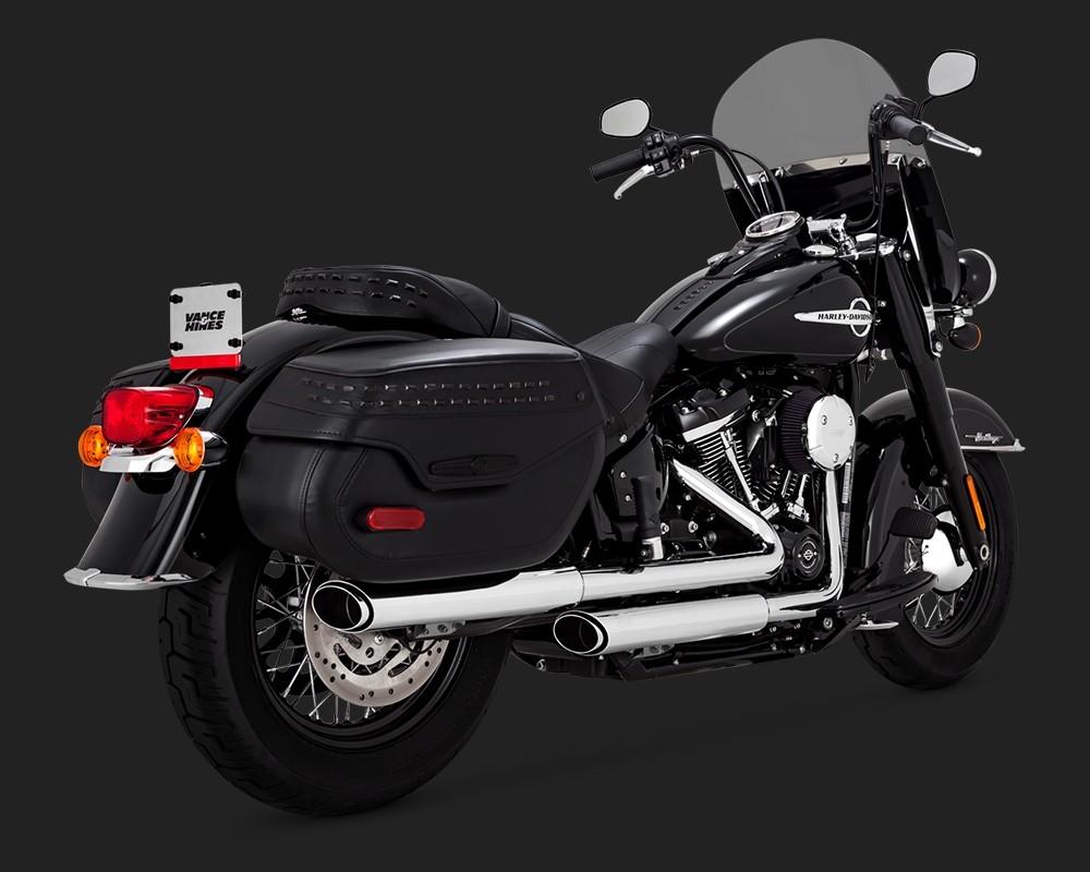 V&H Twin Slash Slip-ons for Harley Milwaukee-Eight Softail Heritage & Deluxe - Chrome