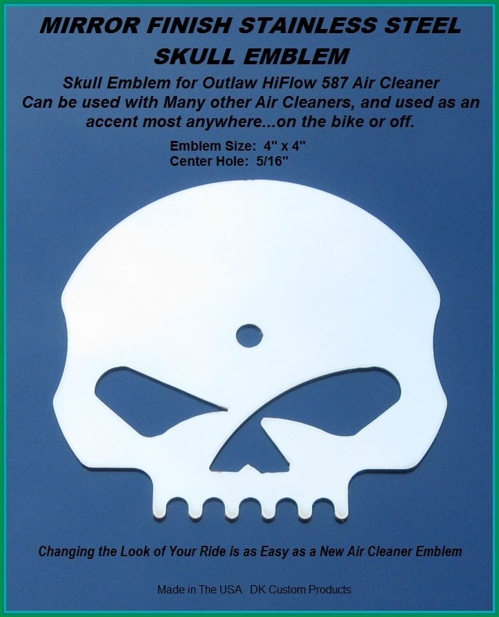 Skull Emblem w/ Mirror Finish DK Custom Outlaw Air Cleaner