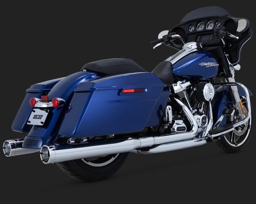 DK Custom V&H Monster Round Slip-ons for Harley Milwaukee-Eight M8 Touring - Chrome Harley-Davidson Vance & Hines Milwaukee Eight