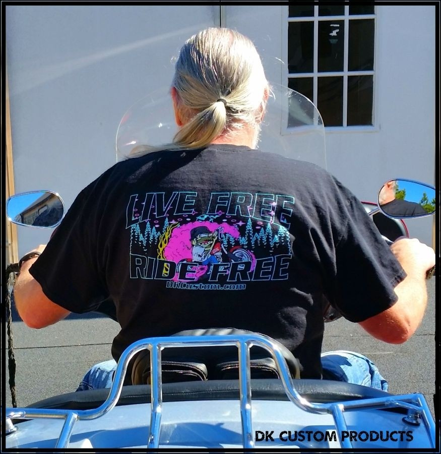 Live Free Ride Free T-shirt dry blend DK Custom Products Neon Limited Night Moves