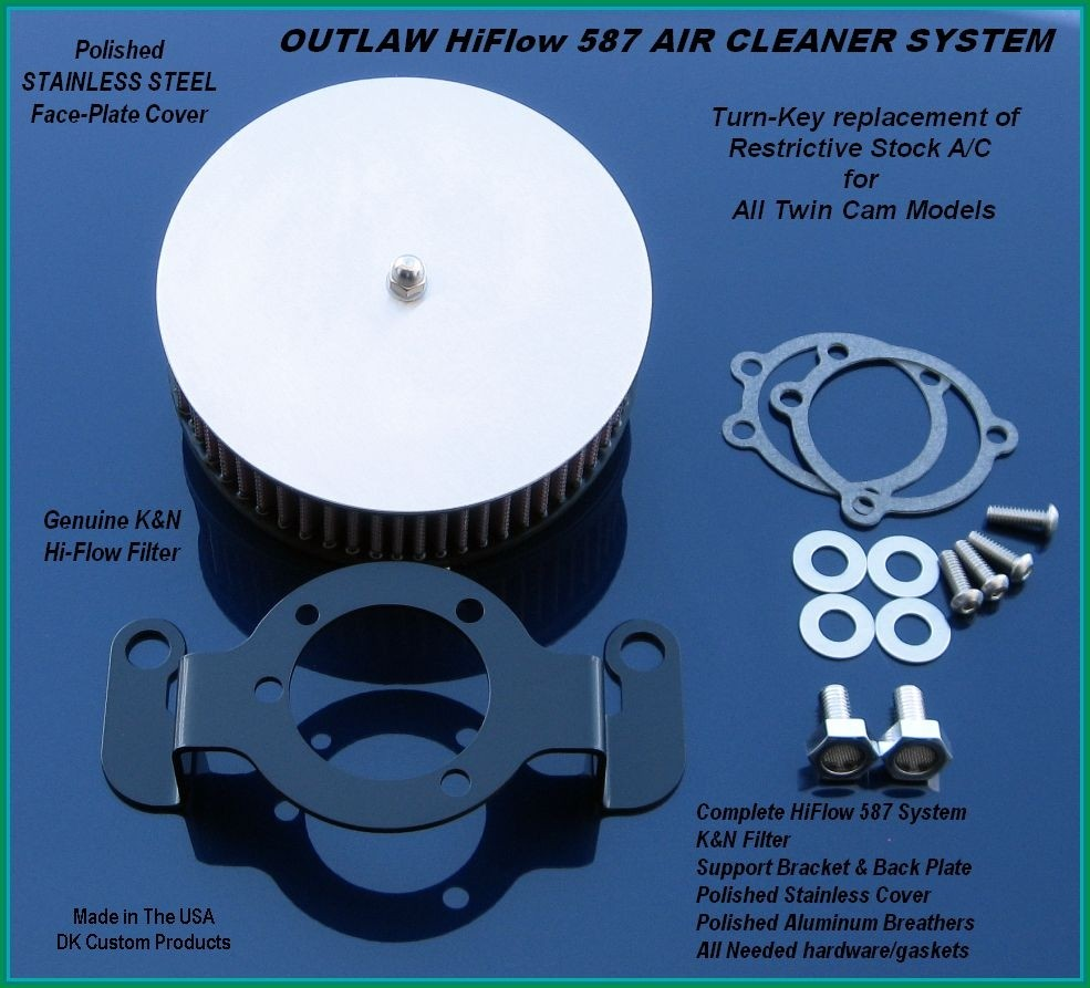 Complete HiFlow 587 Air Cleaner Stainless Cover Twin Cam Harley DK Custom Harley Davidson Outlaw Air Cleaner Systems Complete EBS High Flow M-8 Milwaukee-Eight Softail Twin Cam Dyna  Touring Trike Freewheeler  Big Twin Stage I TBW Throttle By Wire