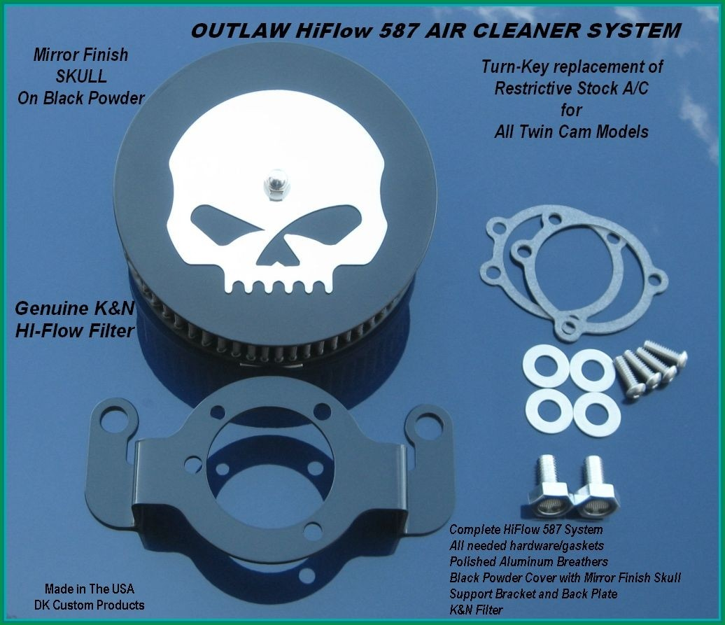 Mirror w/ Black Powder HiFlow 587 Air Cleaner System Twin Cam DK Custom Harley Davidson Outlaw Air Cleaner Systems Complete EBS High Flow M-8 Milwaukee-Eight Softail Twin Cam Dyna  Touring Trike Freewheeler  Big Twin Stage I TBW Throttle By Wire