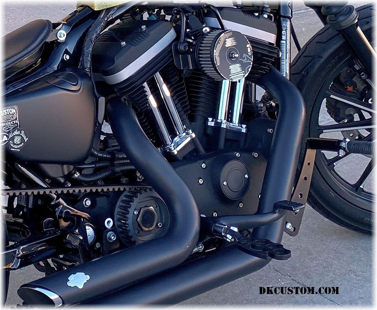 DK Custom Products Harley Sportster Dyna Stealth Adjustable Highway Peg Mounting Kit Chrome Black