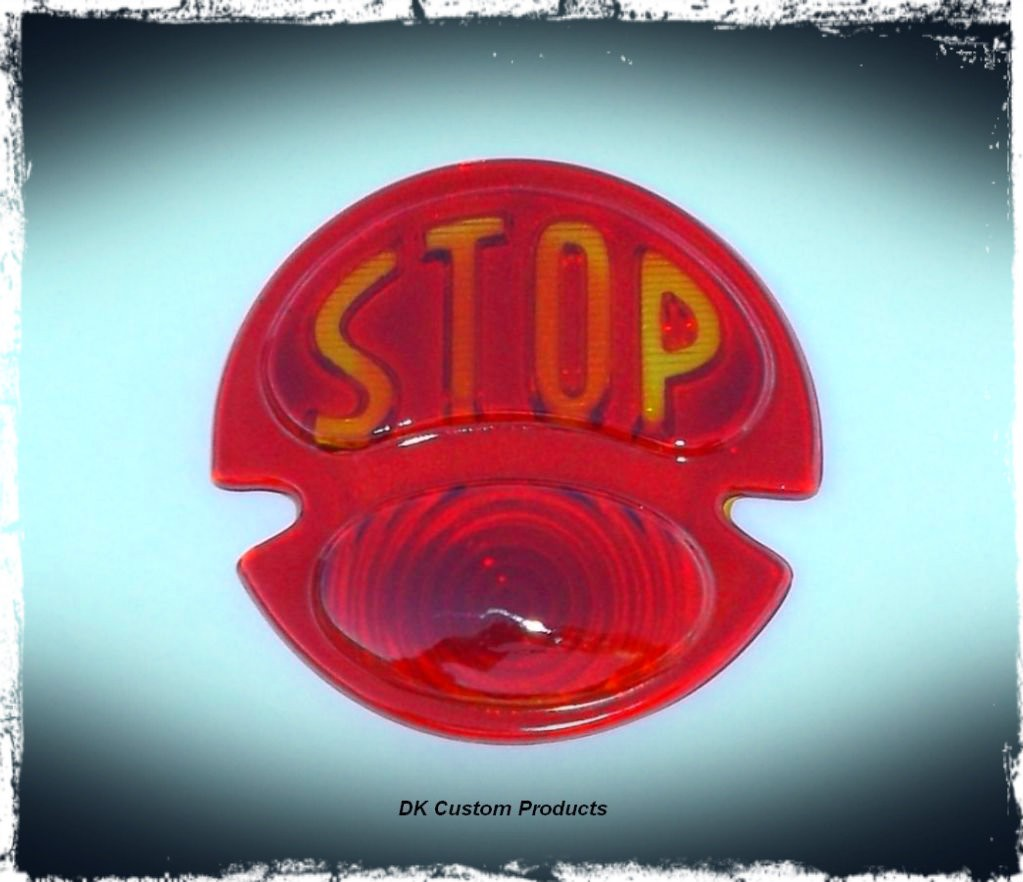 DK Custom STOP Lense for 1928-1932 Style Ford Model A Tail Light License Plate Harley Sportster Dyna Softail left OR right side