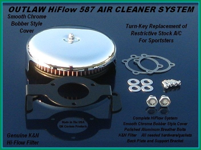 Complete Smooth Chrome HiFlow 587 Air Cleaner for Sportsters Sportster Harley Davidson High Flow Air cleaner DK Custom Nightster Iron 48 Custom Low SuperLow Bobber Stage I K&N EFI Carbureted Complete High Performance