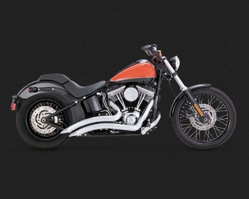 DK Custom V&H Big Radius 2-2 Full Exhaust for Harley Softail - Chrome Vance & Hines Thunder Torque Slash Cut Heat Shields