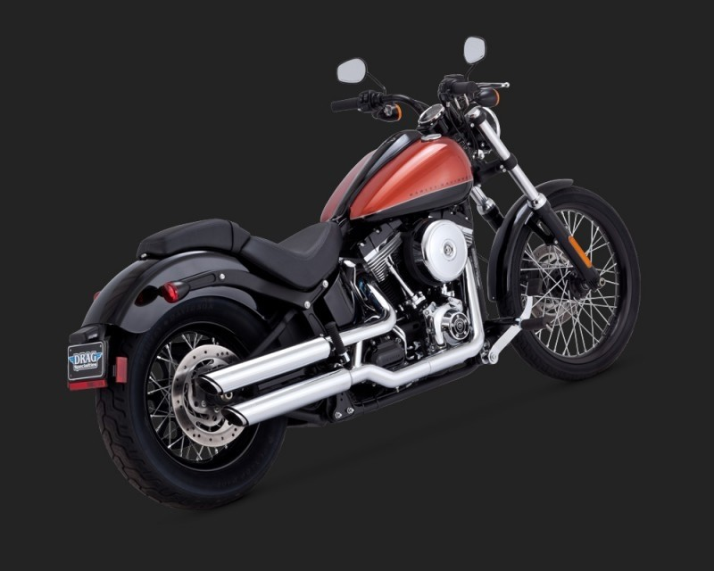 DK Custom V&H Twin Slash Slip-ons for Harley Dyna Softail - Chrome Harley-Davidson Vance & Hines