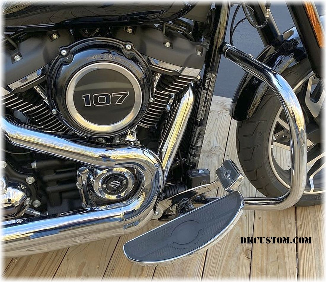 DK Custom Chrome Floorboards Mid or Forward Mount Sportster Dyna Softail Harley-Davidson Fold Up forward or mid controls Black